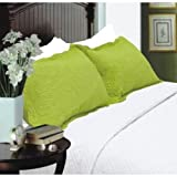 Nceonshop(TM) All for You 2pc Quilted Pillow Shams-standard Size-lime Green Color New