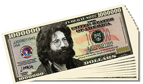 Jerry Garcia Novelty Million Dollar Bill - 10 Count with Bonus Clear Protector & Christopher Columbus Bill - 1