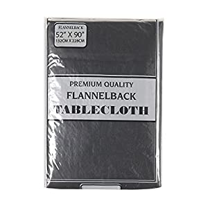 Carnation Home Fashions Vinyl Tablecloth with Polyester Flannel Backing, 52-Inch, by 90-Inch, Black