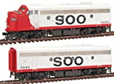 Walthers PROTO 2000 HO Scale Diesel Emd F7A - B Set Powered - Standard DC - Soo Line #2226 - A with Mars Light and B Unit #503 - C (Red, White)