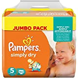 Pampers Windeln Simply Dry Gr. 5 Junior 11-25 kg Jumbo Pack, 2er Pack (2 x 66 Stück)
