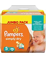 Pampers Couches Simply Dry Jumbo Pack Taille 5 Junior 11 à 25 Kg X 66 Changes  - Lot de 2