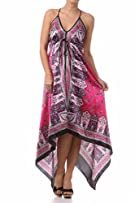Silk Feel Handkerchief Hem Criss Cross Back Adjustable Maxi / Long Dress