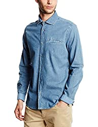 GAS Men's Casual Shirt (8059890968305_85378WY29_Large_WY29 - Blue)