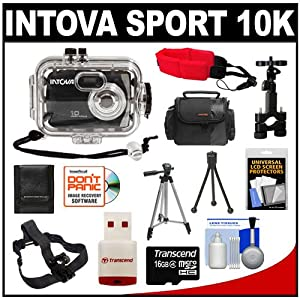 Intova Sport 10K Waterproof Digital Camera with 140' Underwater Housing + Helmet & Bike Mounts + 16GB Card + Case + Tripods + Float Strap + Accessory Kit