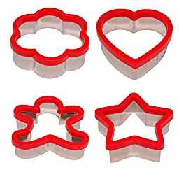 Stately Kitchen\'s Soft Grip Large 3 inch Cookie Cutter Set of 4 - Ginger Bread Man Cookie Cutter, Heart Cookie Cutter, Star Cookie Cutter and Flower Cookie Cutter