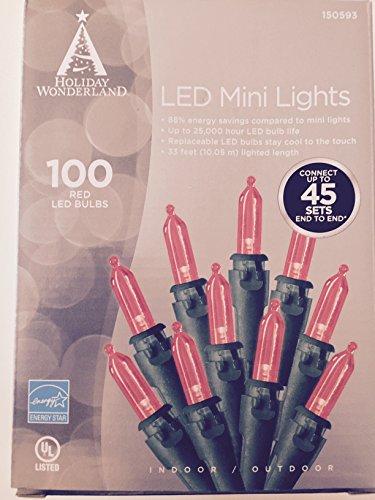 Holiday Wonderland, 100-Count, Red Led Christmas Light Mini Bulb Light Set