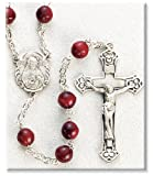 Sterling Silver Rosary Genuine Cocoa Beads Brown Rosaries Jesus Mary