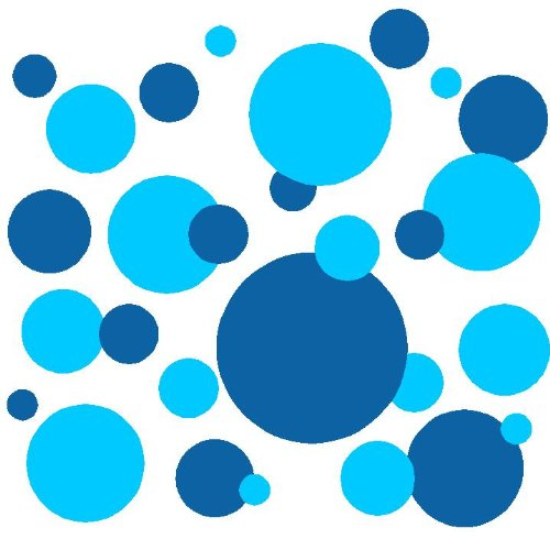 Set of 130 Medium Blue and Sky Blue Circles Polka Dots Circles Wall Graphic Vinyl Lettering Mural Decal Stickers Kit Peel and Stick Appliques