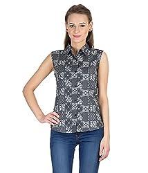 Hypernation Paisley Printed Sleeveless Shirts For Women