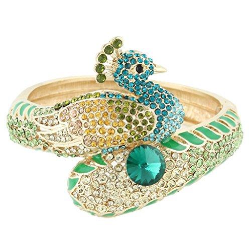 EVER FAITH Peacock Bangle Bracelet Multicolor Austrian Crystal Gold-Tone N03529-2