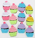 Darice Felties Cupcake Felt Stickers Embellishments Pack of 12 Crafts Sewing Card Making Scrapbooking