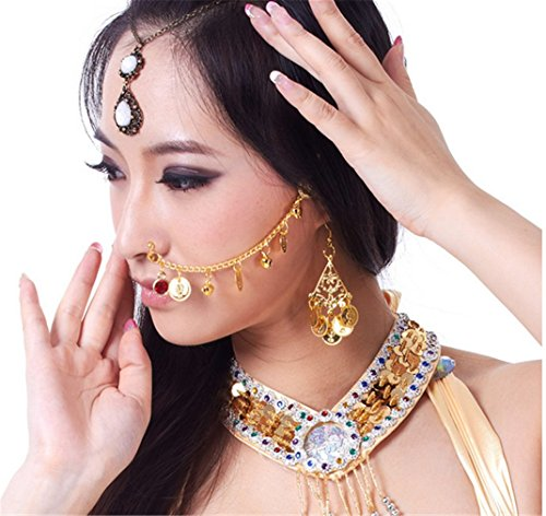 Dreamspell Belly Dance Costume Accessories Metal Coins Indian Dance Nose Chain