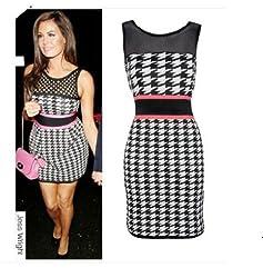 Womens Celebrity Jessica Wright Dogtooth Print Bodycon Dress Size 8-14