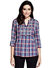 Per Una Pure Cotton Floral Embroidered & Checked Shirt