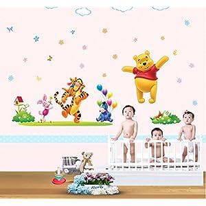Sala della Galleria di arte della tela Home Decor Art smontabile Adesivo Kid e Nursery Cartoon Winnie the Pooh Stickers murali # WM120   recensione Voto