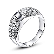 buy Leobon Romantic Jewelry Engagement Gift Rings For Women White Topaz Cz I Love You 18K White Gold Plated Fashion Ring