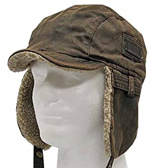 Best PILOT TROOPER Brown Shell AVIATOR Faux Leather Hat USHANKA Trapper Men and Women 7 3/8