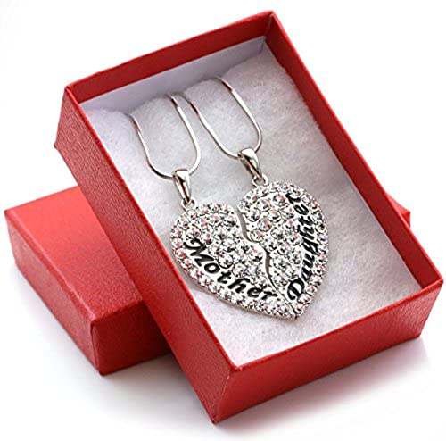 mother mom daughter best friends forever bff heart pendant necklace engraved letters gift for mothers day