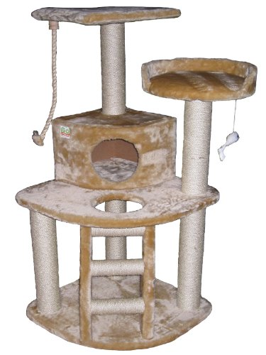 Cat Tree Condo House - 32W x 25L x 47.5H Inches, Beige