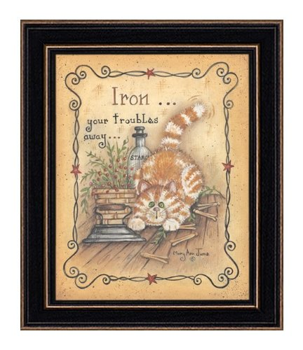The Craft Room Mary 340 Iron Your Troubles, Eight by Ten Inch Rustic Shaker Framed Print by Mary June