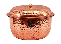 Indian Art Villa Handmade Stainless Steel Copper Casserole With Lid For Serving Restaurant Hotel Bar Home Ware Gift Item