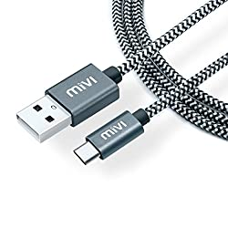 Type C USB C to USB A 3.0 6 ft long Nylon Braided Original Mivi Tough Cable for OnePlus 3, OnePlus 2, Nexus 5X, Nexus 6P, Le Eco Le 2, new MacBook, ChromeBook Pixel, Gionee S6, Meizu PRO 5, Xiaomi Mi 4c, Xiaomi Mi 5, LeEco Le 1s, LeEco Le 2, Le 2 Pro, LeEco Le Max 2, Nokia N1 Tablet and many more Type C devices (Passes Google CheckR)