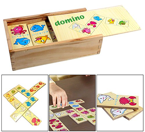 PIGLOO 28 Wooden Animal Domino Tiles in Wooden Box with Lid Wooden Playing Set for Kids Ages 3+ Years