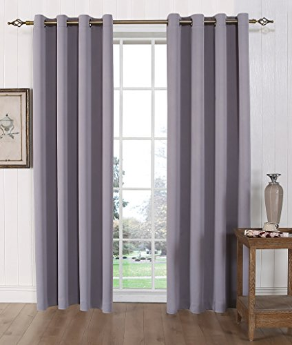 MYSKY HOME Solid Grommet top Thermal Insulated Window Blackout ...
