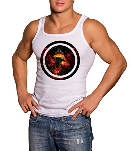 World Of Warcraft Dragon Men's CLASSIC TANK TOP Sleeveless T-Shirt Bianco Small