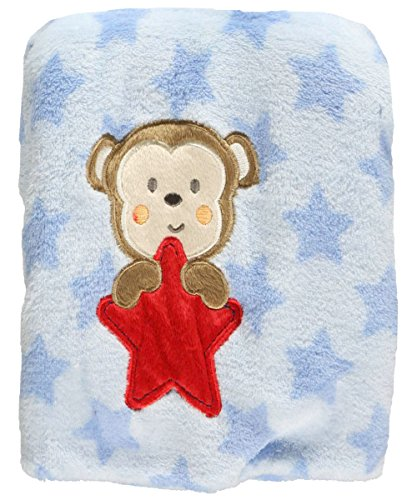 "Baby Starters ""Monkey Star"" Plush Blanket - blue, one size"