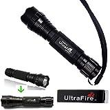 Ultrafire 501B 1000 Lumens Cree XM-L T6 LED High Power Flashlight Torch, 135mm by 30mm Bezel, 25mm Body, Black
