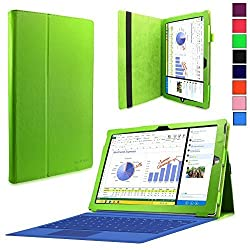 Surface Pro 3 Case - Infiland Folio PU Leather Stand Case Cover For Microsoft Surface Pro 3 Windows 8.1 Pro 12-Inch Tablet Only , Green
