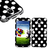 myLife (TM) Gray - Black Polka Dot Design (3 Piece Hybrid) Hard and Soft Case for the Samsung Galaxy S4
