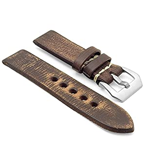 StrapsCo 22mm Dark Brown Extra Thick Antique Vintage Leather Watch Band w/ Pre-V Buckle