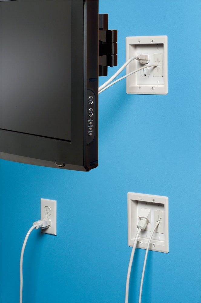 arlington tvbra2k 1 in wall wiring kit pre wired tv bridge 2 gang boxes white. Black Bedroom Furniture Sets. Home Design Ideas