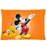 Disney Mickey Mouse Zippered Pillow Cases Cover Cushion Case 20x30 (Two sides)