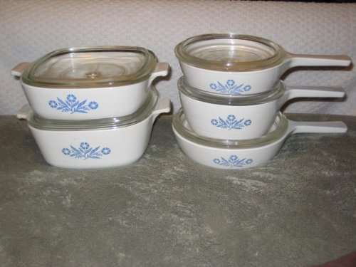 Black Friday Deals 10 PIECE SET - Vintage Corning Cornflower Blue Glass 6 1 2 Inch 1 Pint 1 1 2 Pint Skillet 1 Quart  1 1 2 Quart
