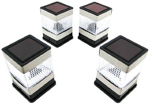 Set Of 4 Solar Powered Fence Post Cap Lights Deck