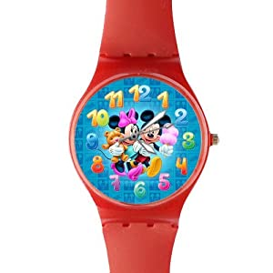 Watchize Mickey Mouse Watch Custom Time Keeper Wrist Watch Red