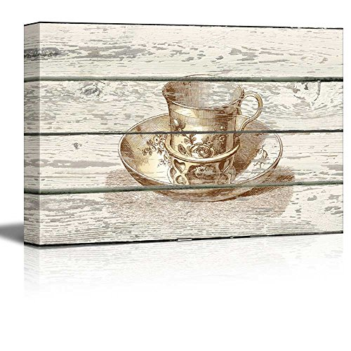Wall26 - TeaCup and Saucer Engraving Artwork - Rustic Canvas Wall Art Home Decor - 16x24 inches