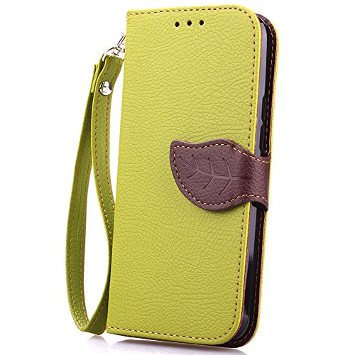 Wallet Case for HTC M9, Exsen Premium Leaf Buckle PU Leather Flip Wallet for M9,Leaves Holster Buckle Pattern Carrying Protective Case with Stand Credit Card Holder Case for HTC M9 (Green/Brown)