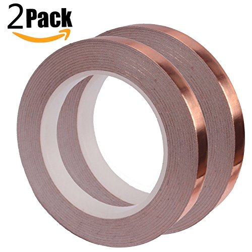 Copper Foil Tape,PEMOTech Pack of 2 Copper Foil Tape with Conductive Adhesive(1/4inch X 21.8yards)-Slug Repellent,EMI Shielding,Stained Glass, Paper Circuits,Electrical Repairs, Soldering,Grounding