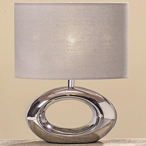 Nachttischlampe-33-cm-Keramik-silber-oval-Nachttischleuchte-Tischlampe-Lampe-Leuchte-modern