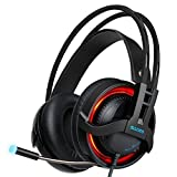 SADES R2 Virtual 7.1 Channel Surround Sound headphones with Retractable Mic USB PC Gaming Headset Stereo Professional headsets Noise-Canceling Volume Control LED Light(Black) (Color: Black, Tamaño: R2)