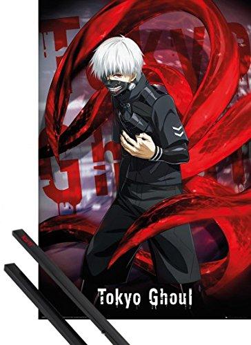 Poster + Sospensione : Tokyo Ghoul Poster Stampa (91x61 cm) Ken Kaneki E Coppia Di Barre Porta Poster Nere 1art1®