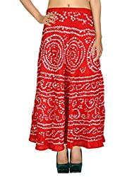 Gorgeous Casual Skirt Cotton Red Ethnic Tie Dye For Her By Rajrang