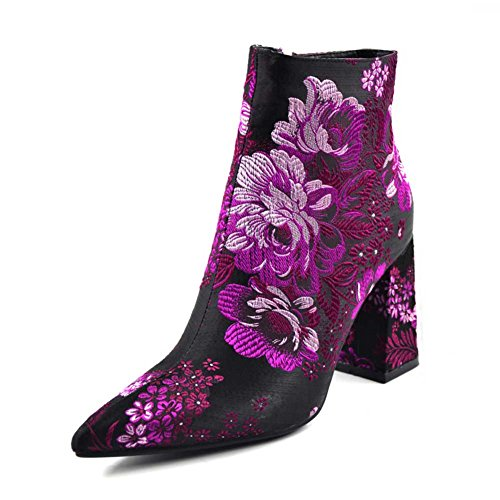 Chunky High Heel Floral Ankle Boot