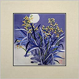 King Silk Art 100% Handmade Embroidery Unframed Yellow Orchids Shining Under The Blue Moon Oriental Wall Hanging Art Asian Decoration Tapestry Artwork Picture Gifts 36014W