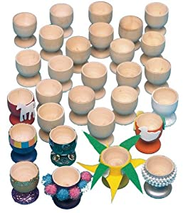 wooden craft egg cups for decorating pack of 20 amazon. Black Bedroom Furniture Sets. Home Design Ideas